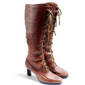 Cole Haan Boho Leather Lace Up Knee High Boots 7.5